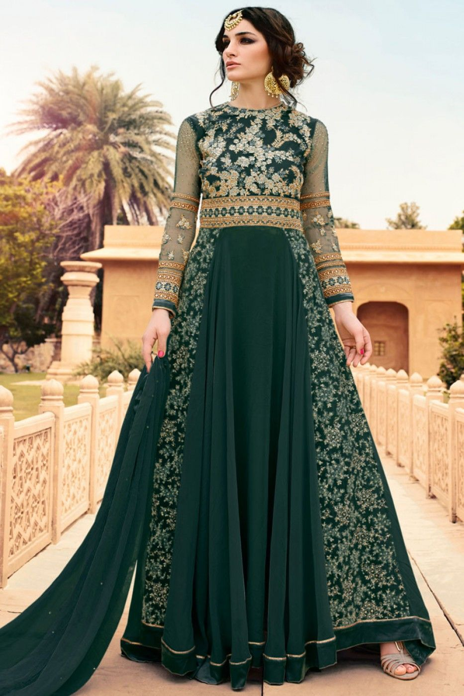 2efe483df69 Dark Green Color Georgette Fabric Traditional Party Wear Designer Indian  Women Fashion Embroidered Anarkali