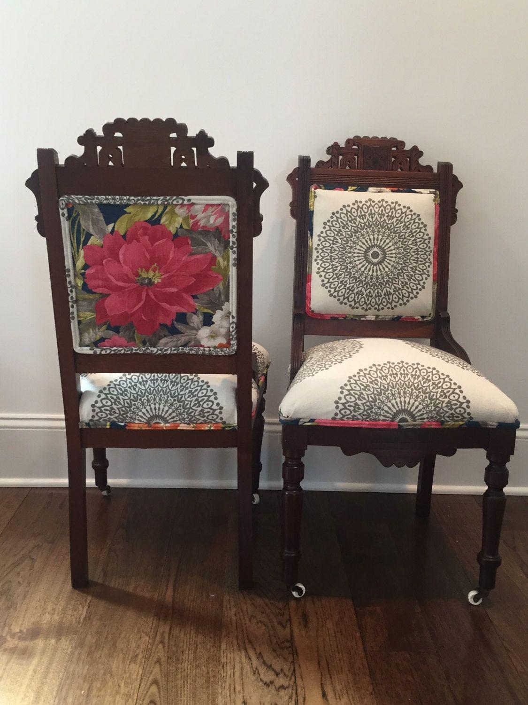 2 Vintage Victorian Eastlake Parlor Chairs Reupholstered
