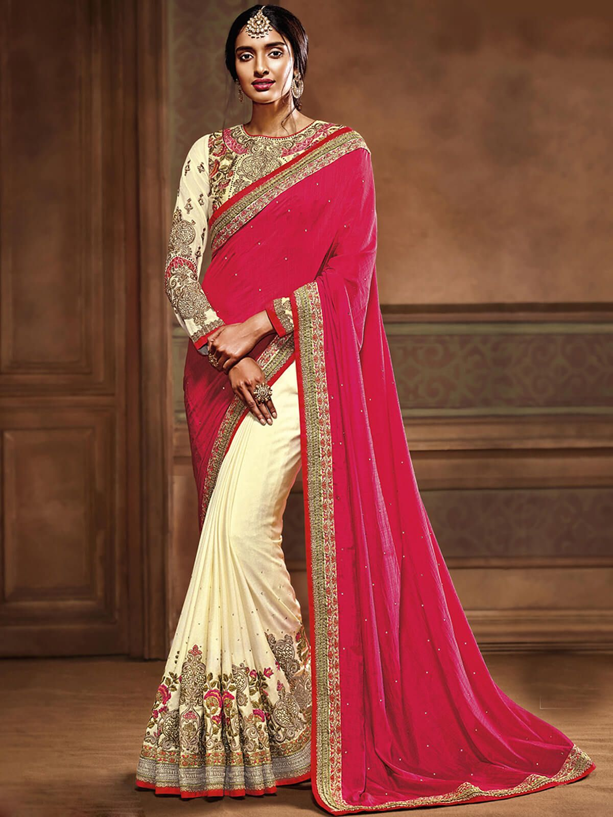 5fa3a24f1e5ea8 Marvelous pink and cream chiffon festival wear half and half saree. Having  fabric chiffon, georgette and dupion. The attractive thread work,  embroidery work ...
