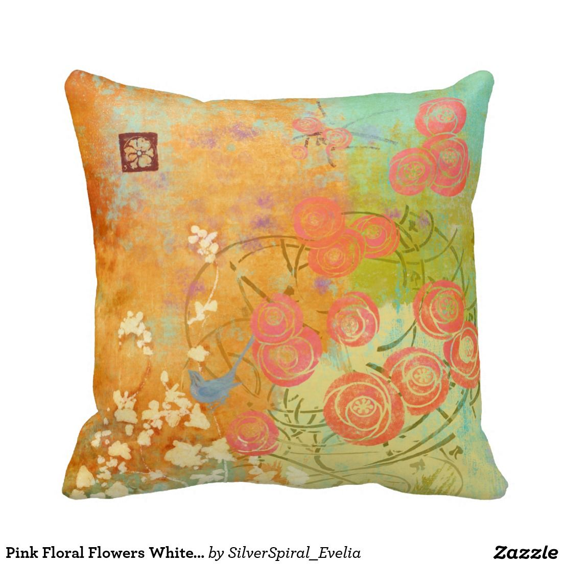 Pink Floral Flowers White Flower Blue Bird Orange Pillow