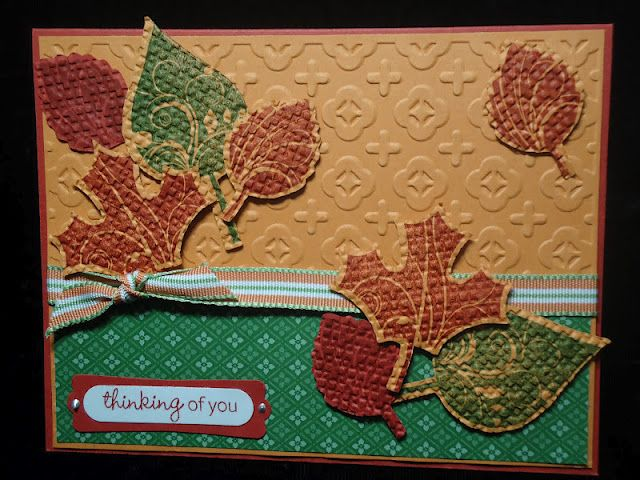 I used Art Philosophy Cricut Cartridge and coordinating stamp set CTMH Harvest Happiness.  Bring on Autumn!!