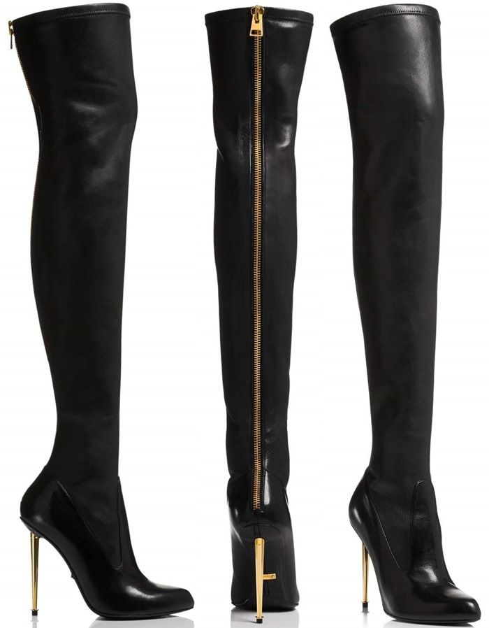 99f74462c Tom Ford Nappa-Stretch-Leather Metal-Stiletto Over-the-Knee Boots ...