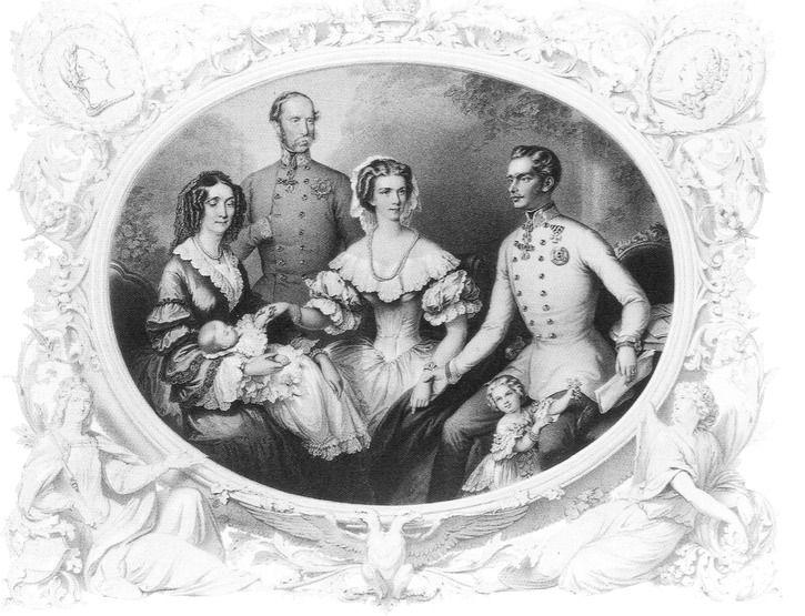 Empress Sisi, Franz Joseph I, Archduchess Gisela, Sophie of Bavaria, Archduke Franz Karl and Archduchess Sophie by Josef Kreihuber (Wien Museum - Wien Austria) | Grand Ladies | gogm