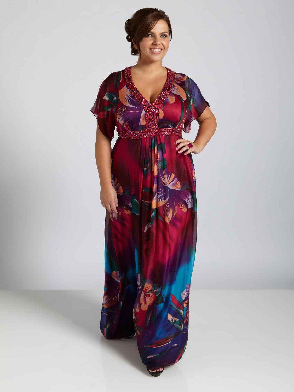 Viviana Cape Style Sleeve V Neck Printed Chiffon Plus Size ...