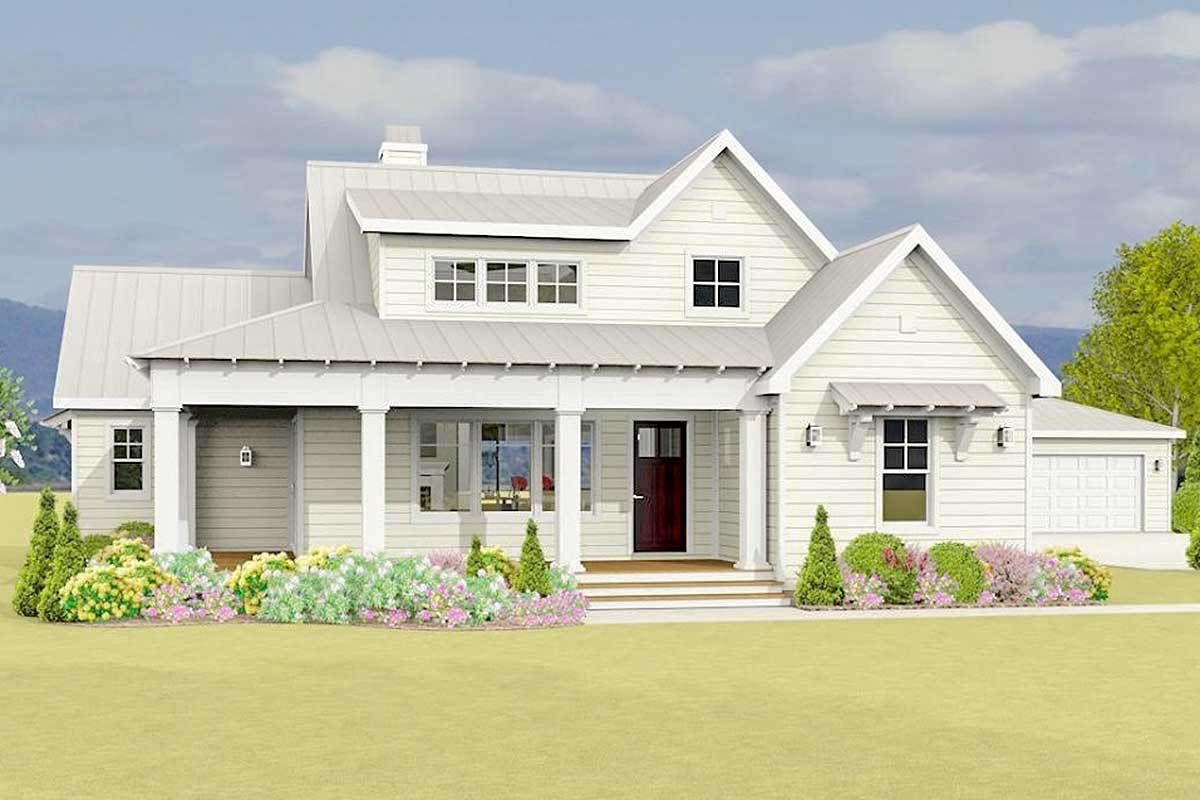 . Plan 28919JJ  Country Farmhouse Plan With Detached Garage in 2019