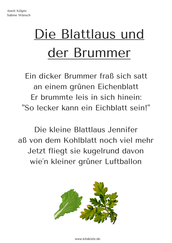 Gedicht Frühling Laus Käfer Kitakiste Kindergedichte