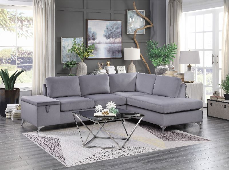 He 9847gy 2pc 2 Pc Radnor Gray Fabric Reversible Setup Sectional Sofa Set Sofa Set Sectional Sofa Modular Corner Sofa