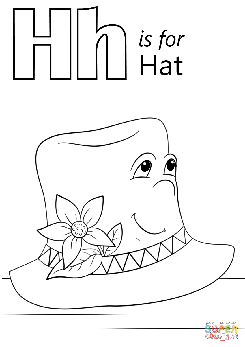 letter h is for hat  super coloring ( images)  abc