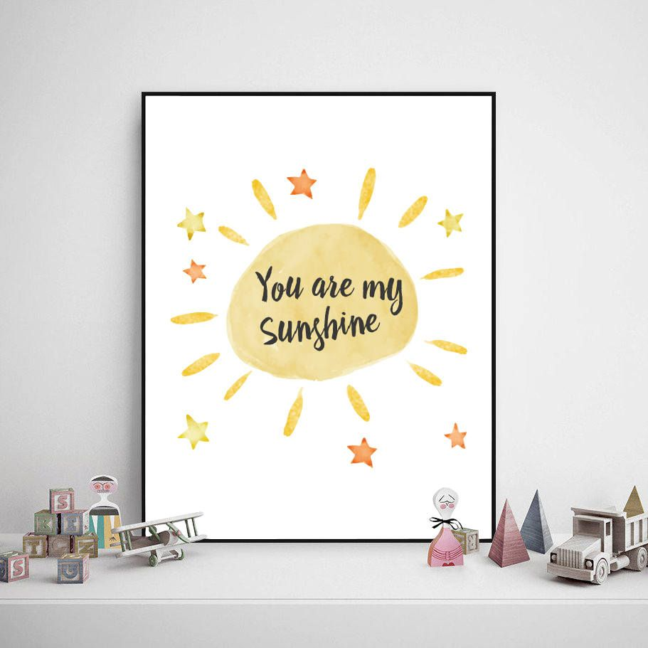 Children Poster - You Are My Sunshine, Children Prints, Baby Room ...