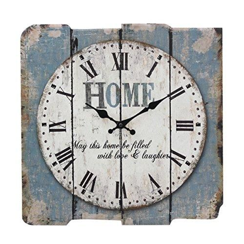 Stonebriar Square Rustic Farmhouse Worn Blue and White Roman Numeral Wall Clock, Shabby Chic and DIY Home Decor Accents for The Kitchen, Living Room, and Bedroom, Battery Operated – Worn Blue