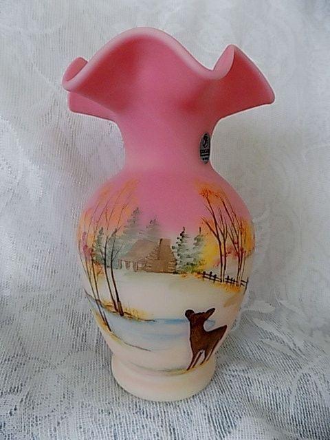 Fenton Burmese Four Seasons Fall Vase Hp Cabin Deer Lmtd Ed Shelly