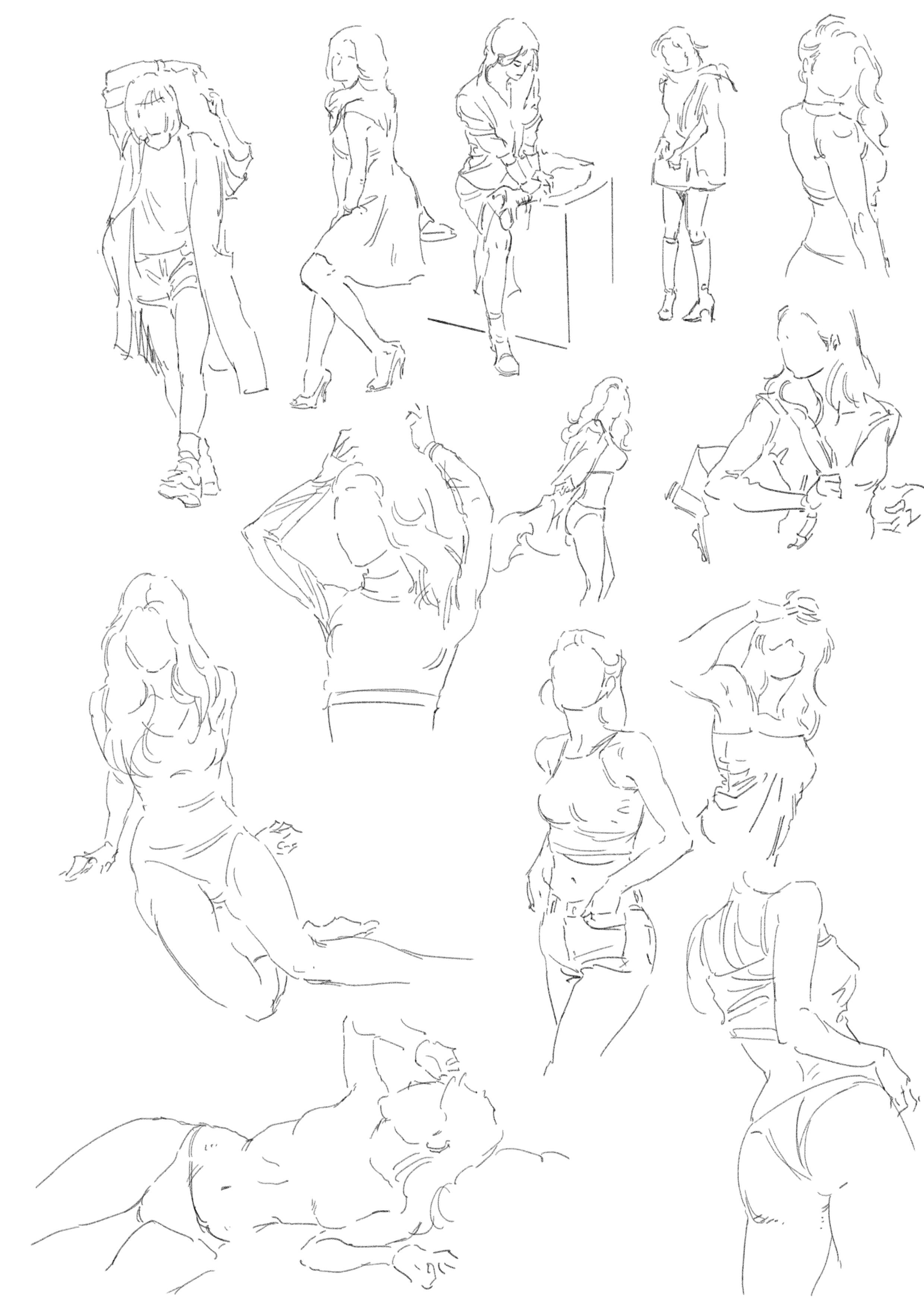 female study by Ian Willard Art poses, Drawings, Line art