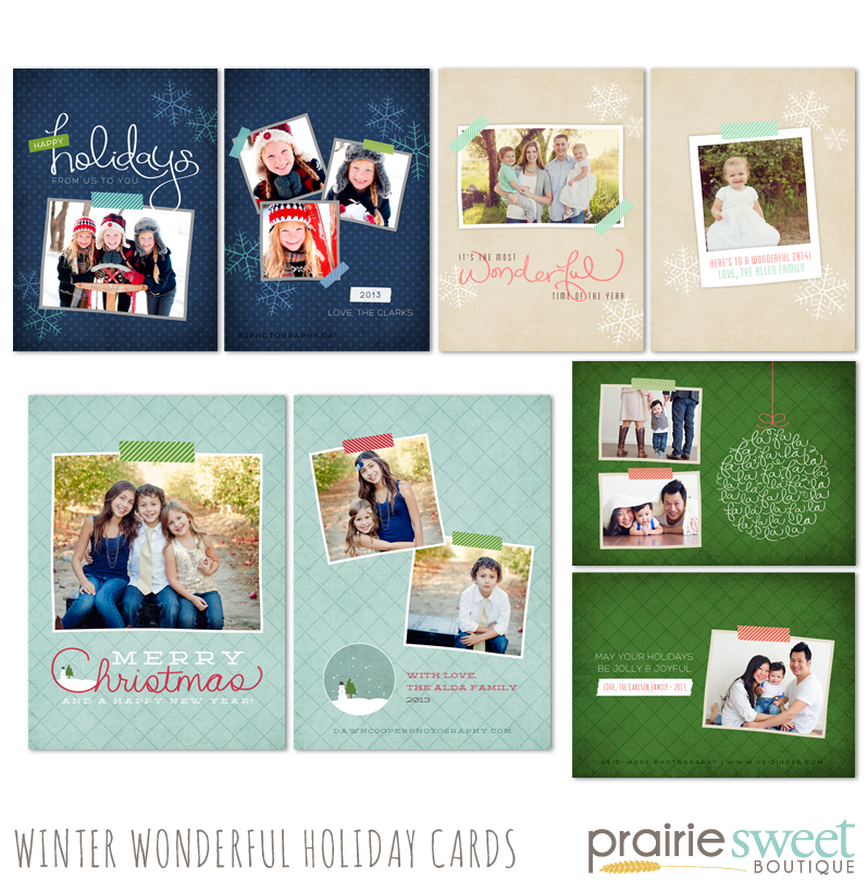 Winter Wonderful Holiday Cards Photoshop Templates Collection by Prairie Sweet Boutique