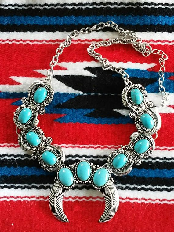 Stunning Silver Plated Turquoise Southwestern Style Necklace