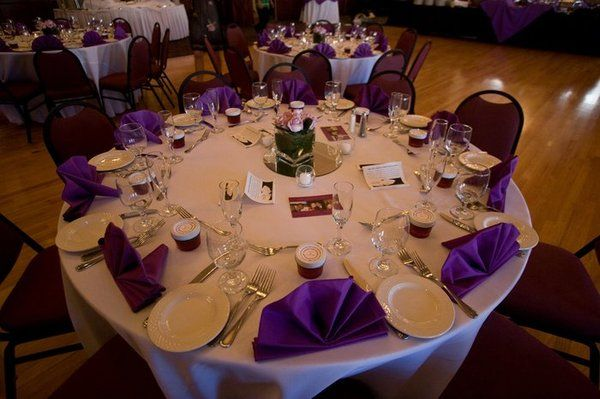 White Tablecloths With Purple Napkins