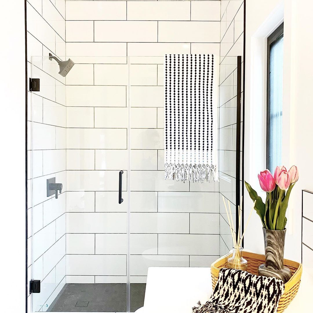 See The Dreamline Unidoor Frameless Glass Shower Door In A Crisp White Farmhouse Bathroo In 2020 Cottage Bathroom Inspiration Shower Doors Glass Shower Doors Frameless