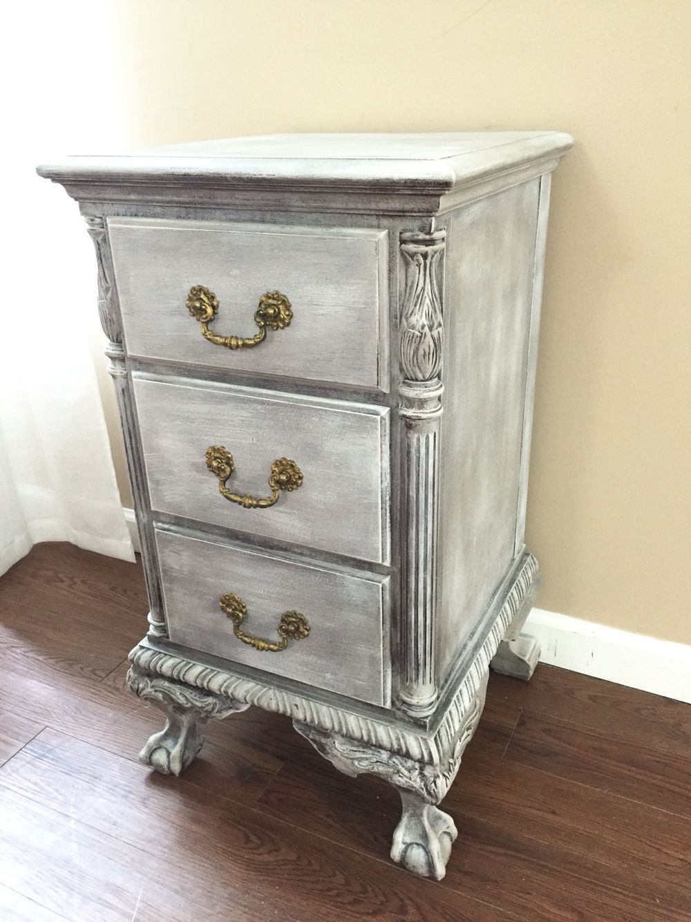 Gorgeous Antique Chippendale Nightstand With A Distressed Finish And Clear Wax Painted In Annie Sloan S Chalk Paint Delicate Carved Cabriole Legs With Ball
