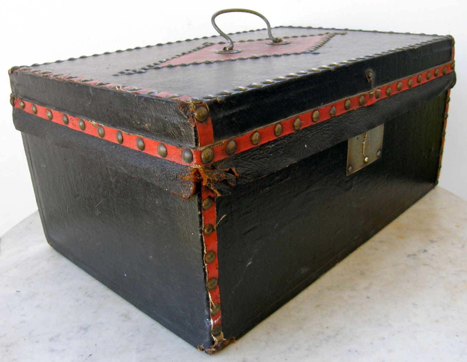 ANTIQUE DOCUMENT BOX Wood w/ Black & Red Canvas Covering Brass Bullet Edging Original Brass Hardware Signed Philadelphia Patent Date 1850s by OnceUpnTym on Etsy