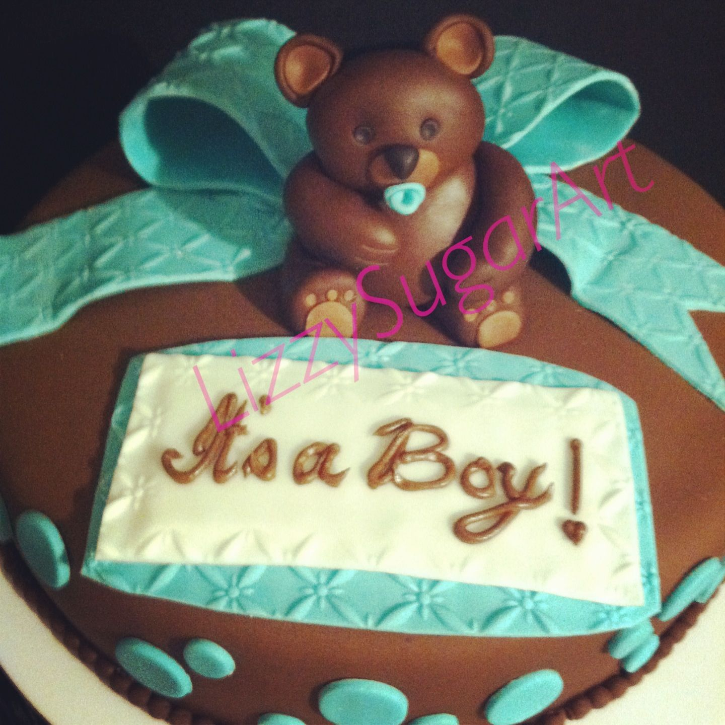 Teddy Bear Theme Baby Shower Cake In Brown And Aqua