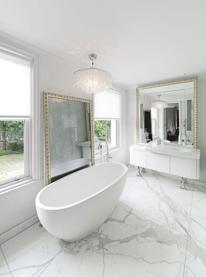 Amazing White Marble Bathroom With Large Mirrors Marble Floor