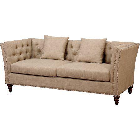 Furniture Of America Avia Contemporary Fabric Sofa Beige Size 38