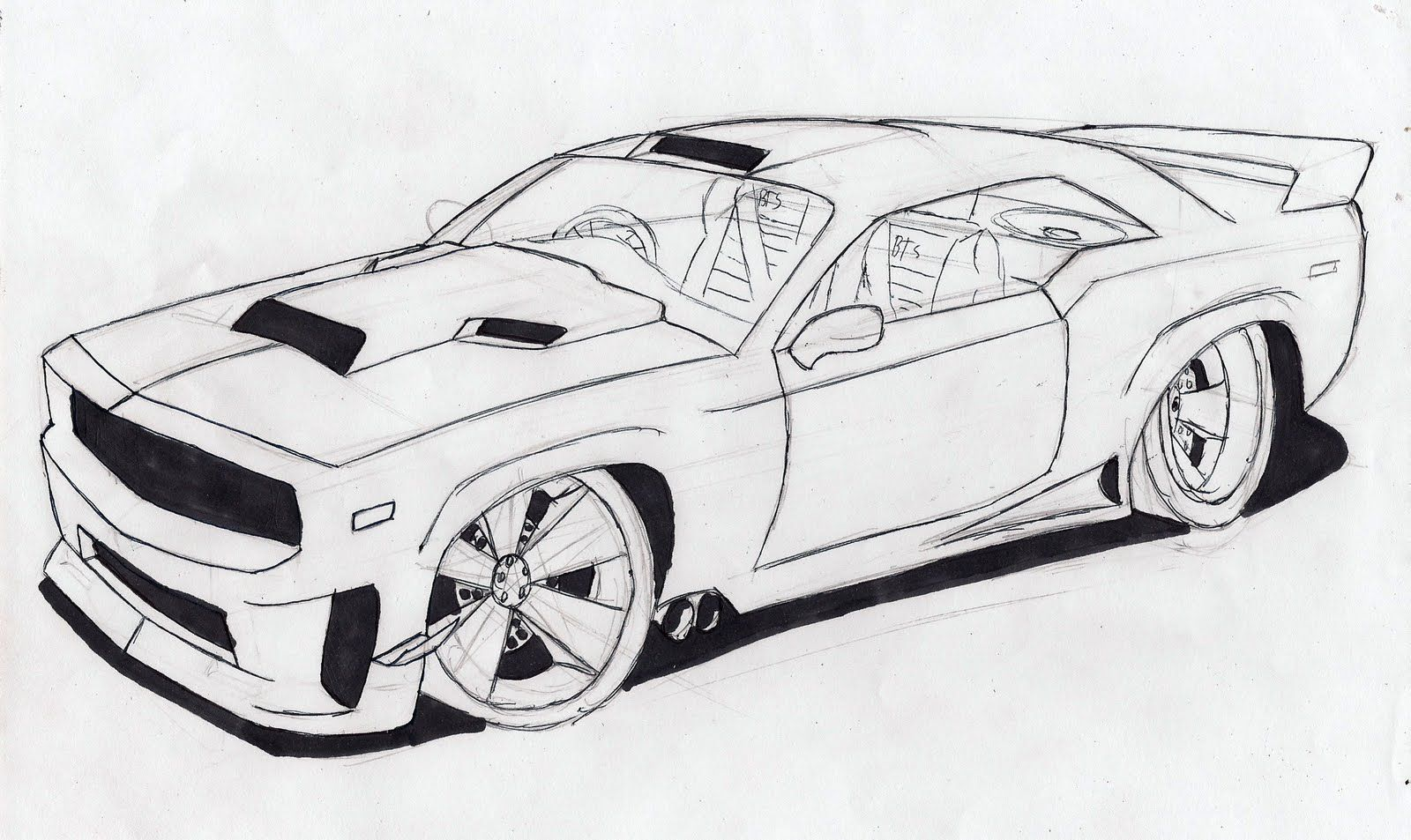 pictures to draw | How to draw a Muscle Car | Cool car ...