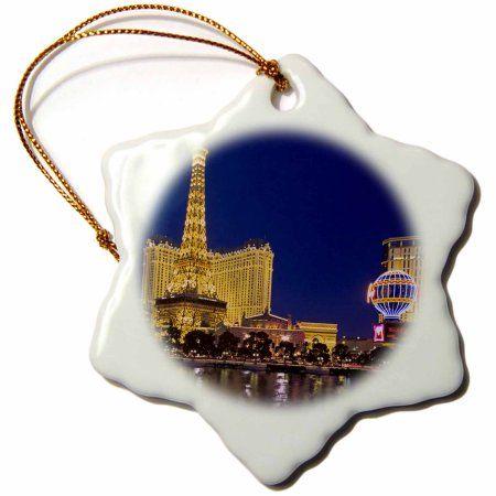3dRose Nevada, Las Vegas. Bellagio Hotel Casino - US29 BJA0012 - Jaynes Gallery, Snowflake Ornament, Porcelain, 3-inch