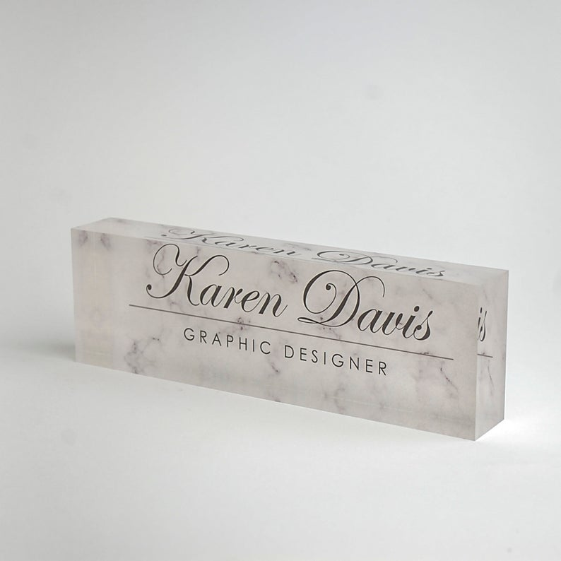 Personalized Desk Name Plate Custom Name On White Marble Etsy Desk Name Plates Personalized Desk Name Plate Personalized Desk