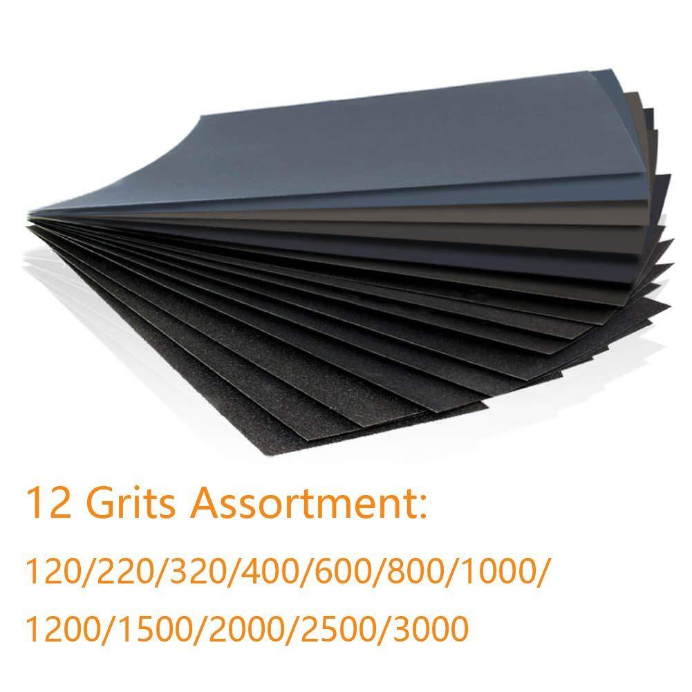 48pcs Sandpaper Assortment Block For Wood Metal Sanding Wet Dry Sand Paper Variety Pack 120 220 320 400 600 800 1000 1200 1500 Dry Sand Wood And Metal Sanding