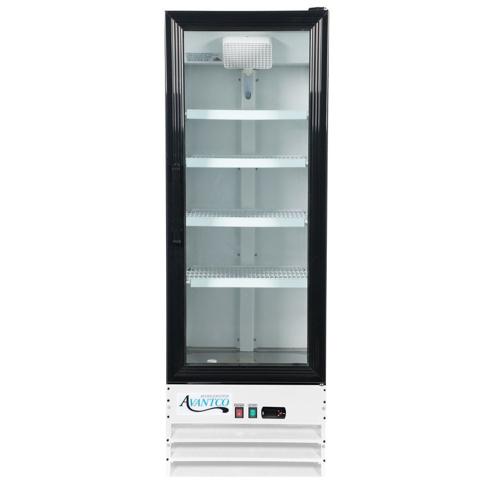 Avantco Gdc 10 Hc 21 5 8 White Swing Glass Door Merchandiser Refrigerator With Led Lighting Glass Door Glass Door Refrigerator Locker Storage