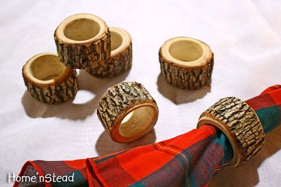 Photo of Rustic Napkin Rings (6 pcs) Holder Reception Dinner Decor Log Home Kitchen Party Favor Holiday Table