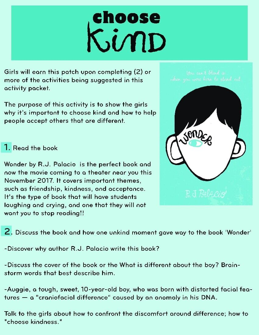 Wonder Movie Activity Sheet Pdf Onedrive Kindness Projects Choose Kind Helping People
