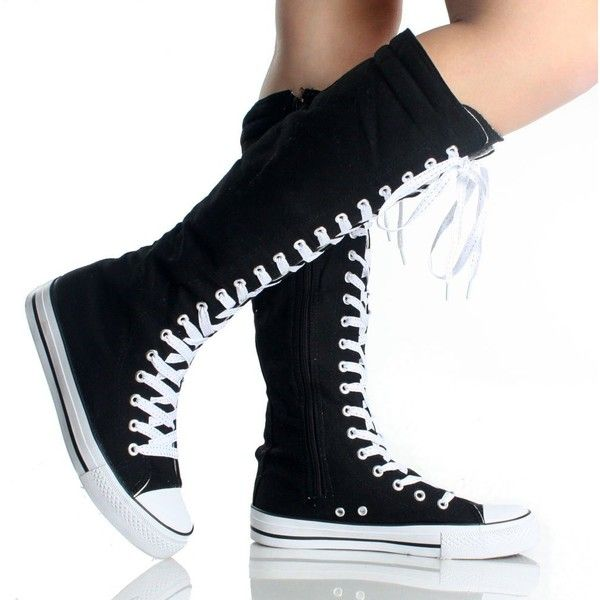 3c214a13eeea2d Canvas Sneakers Ladies Flat Tall Punk Womens Skate Shoes Lace up Knee High  Boots ( 18) found on Polyvore