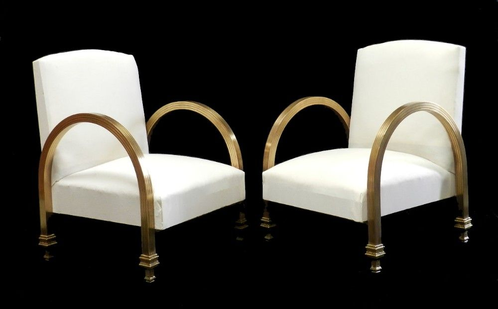 Unusual Pair Of Art Deco Armchairs Brass Newly Upholstered Ready For Top  Covers