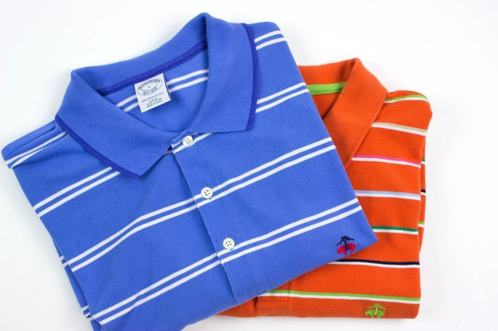 Lot of 2 Brooks Brothers Mens Large Performance Slim Fit Striped Polo Shirt…