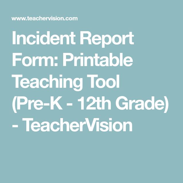 Incident Report Form Printable Teaching Tool PreK  Th Grade