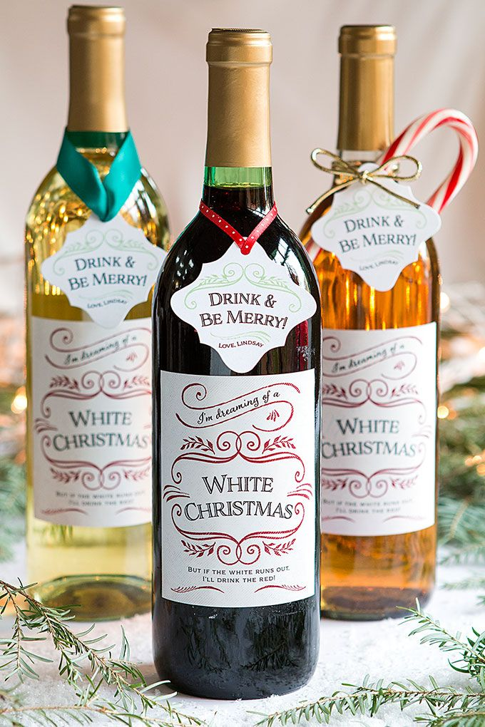 White Christmas Holiday Wine Labels  Label Wording Ideas