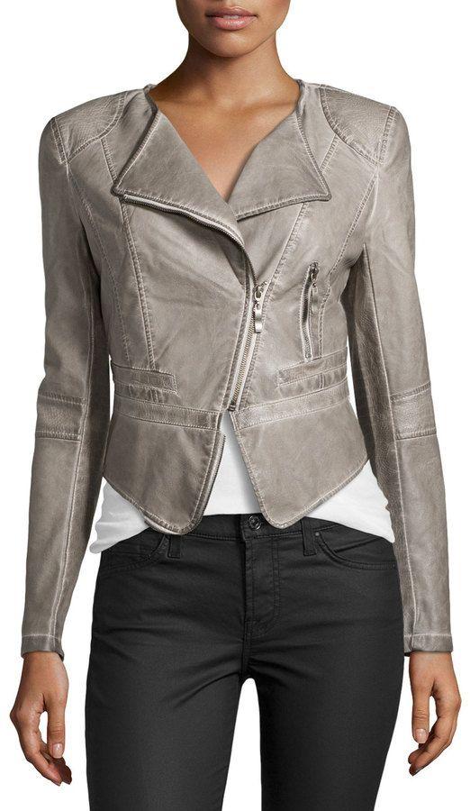 af81c007d1a $119, Raison D'etre Faux Leather Cropped Jacket Pearl Gray | Pinterest |  Chaquetas, Chaqueta cuero y Chaqueta de cuero