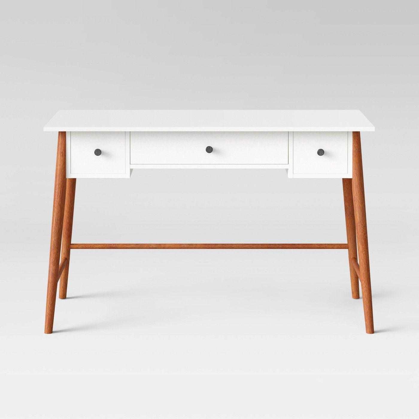 Amherst Mid Century Modern Three Drawer Writing Desk Whitebrown