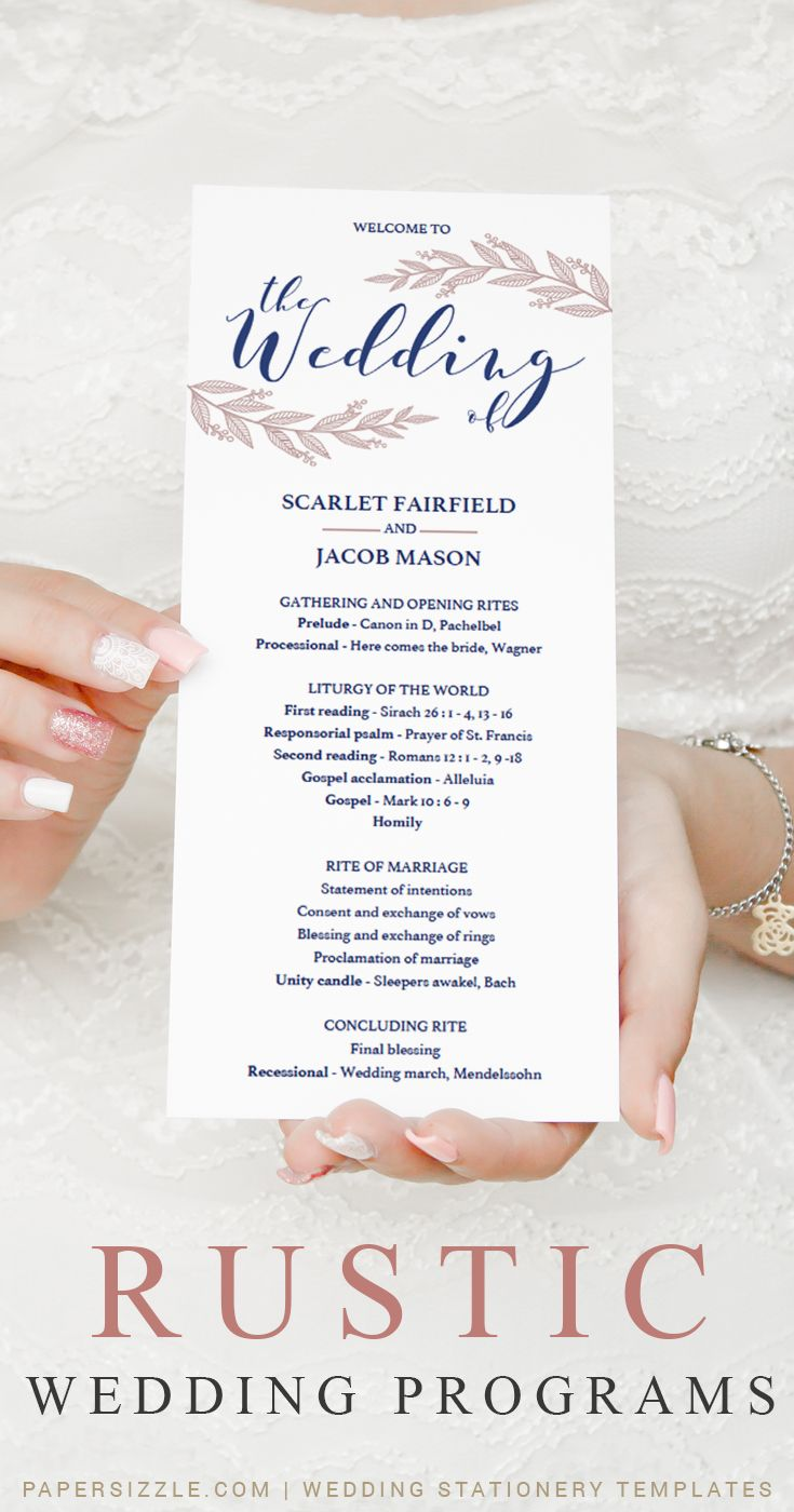 Navy and Blush Wedding Program Template Download Wedding Ceremony ...