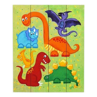 Dinosaur Jumble Graphic Art Print On Wood Painting Prints Nursery Art Boy Art