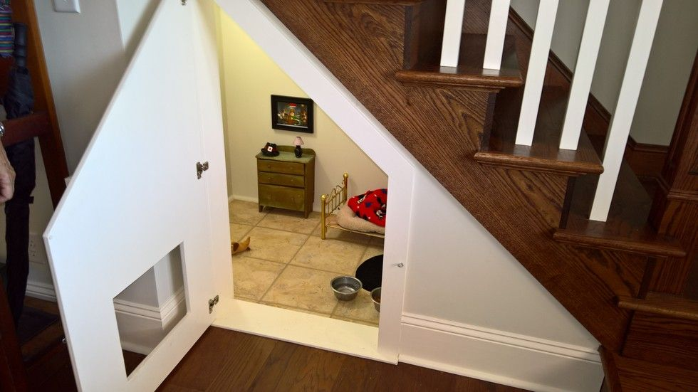 Woman Builds Dog His Very Own Bedroom Under The Stairs Under