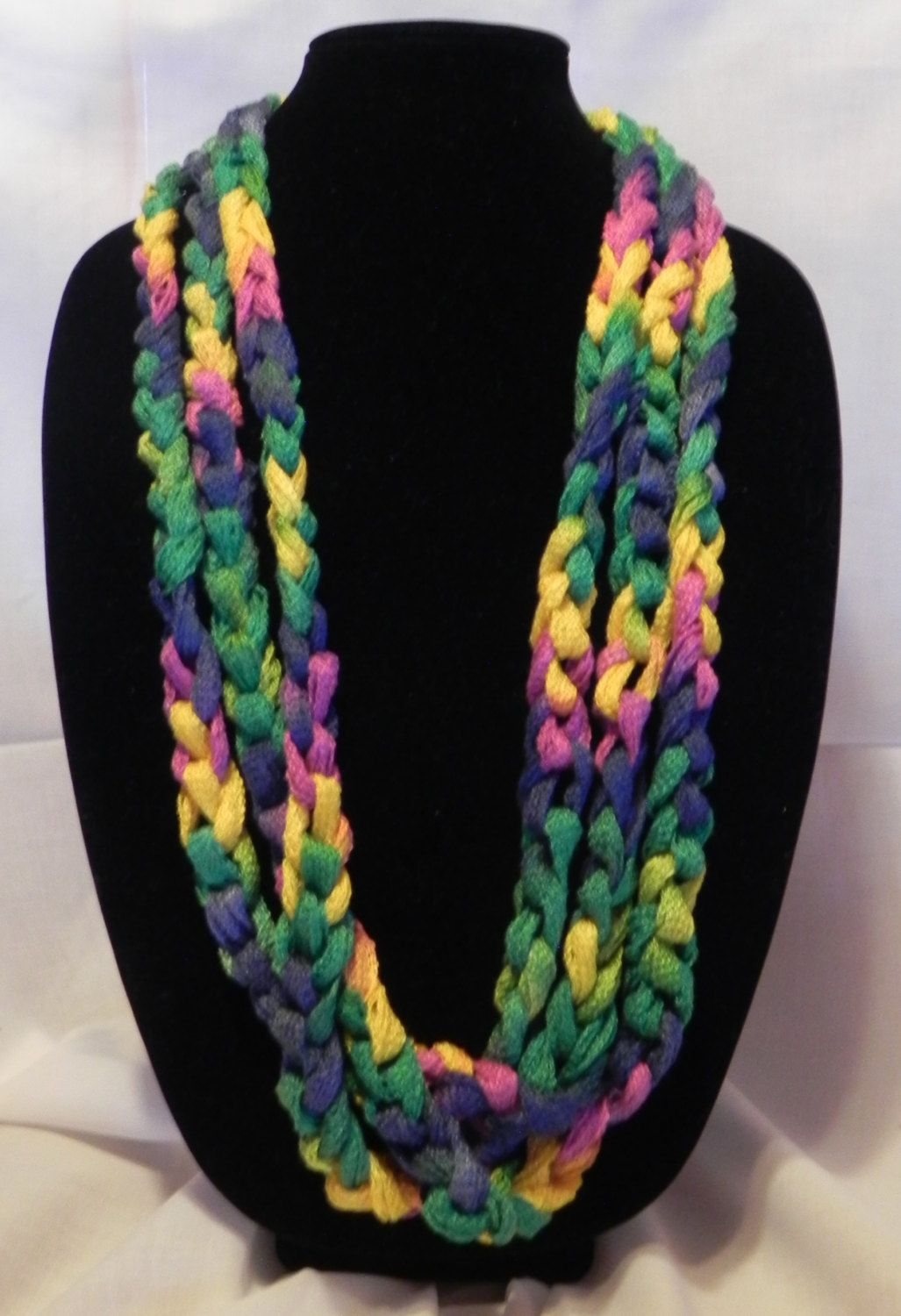 Chunky Crochet Chain Scarf/Necklace in Varigated Green, Navy, Yellow ...