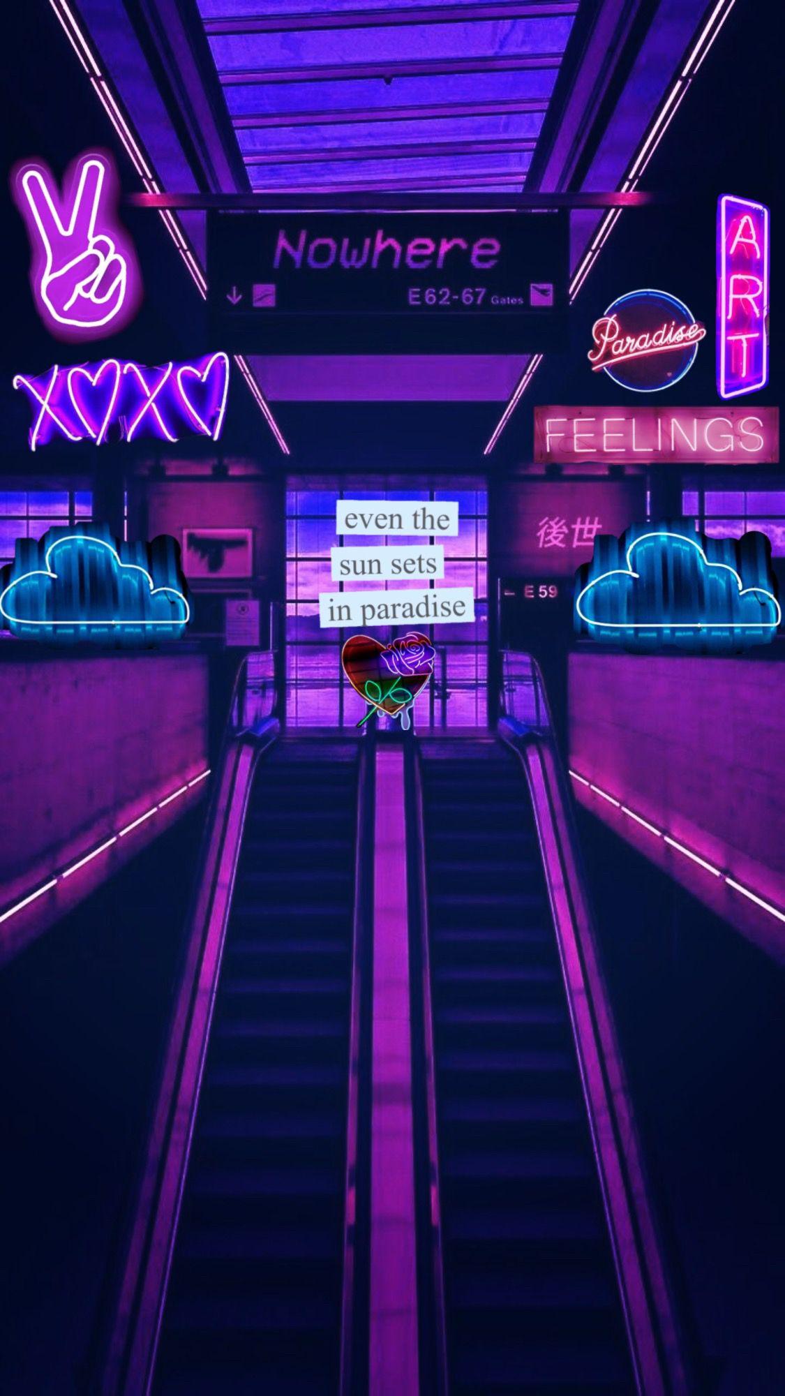 Pin oleh Btsbish di violet |  Wallpaper Neon, Estetika ...