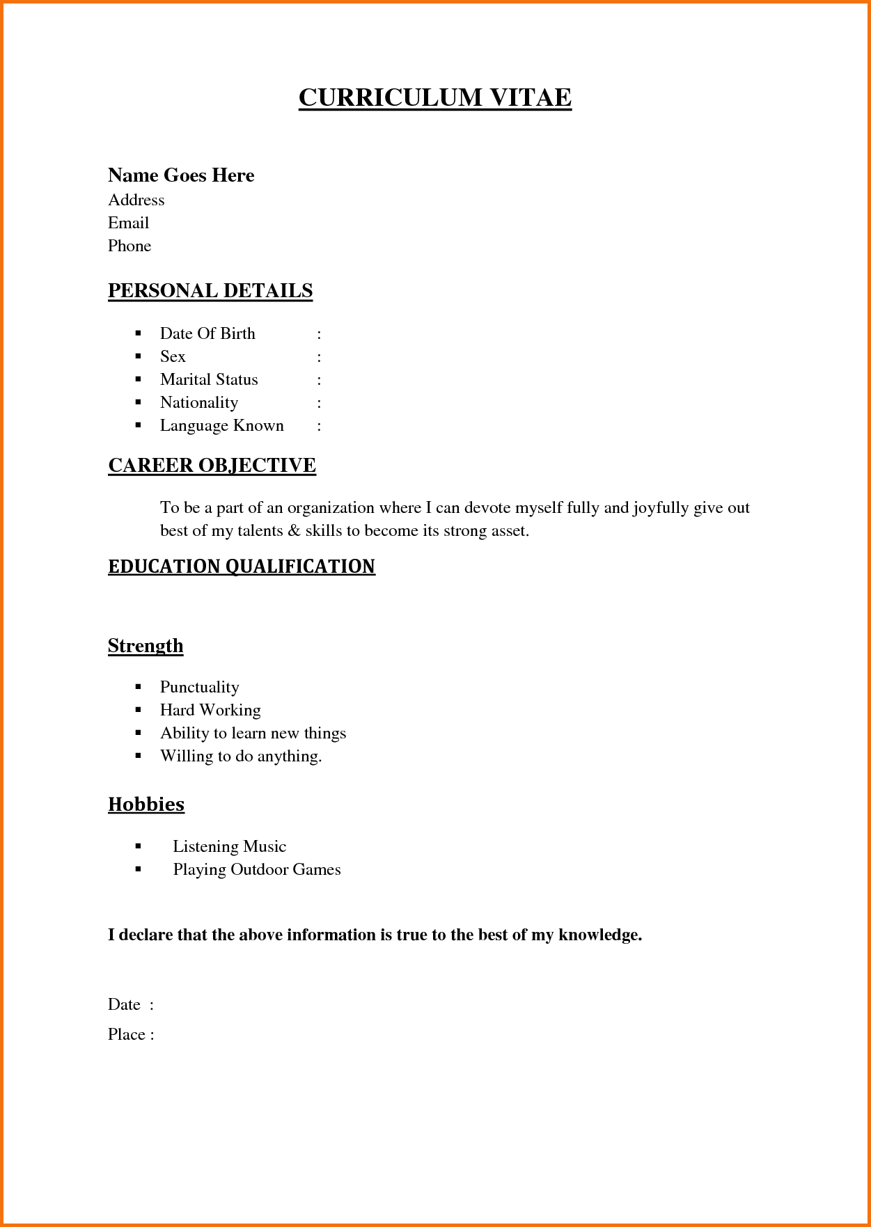 Simple Job Resume Examples Servey Template Sample Free Samples