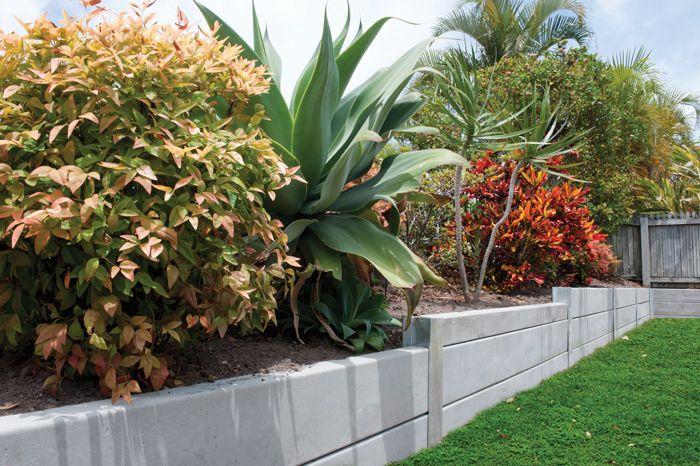 Pioneer Smooth Grey Concrete Sleeper Retaining Wall  Visit