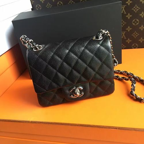 CHANEL Black Calfskin Mini Square Classic Flap Chain Shoulder Bag with Silver Hardware