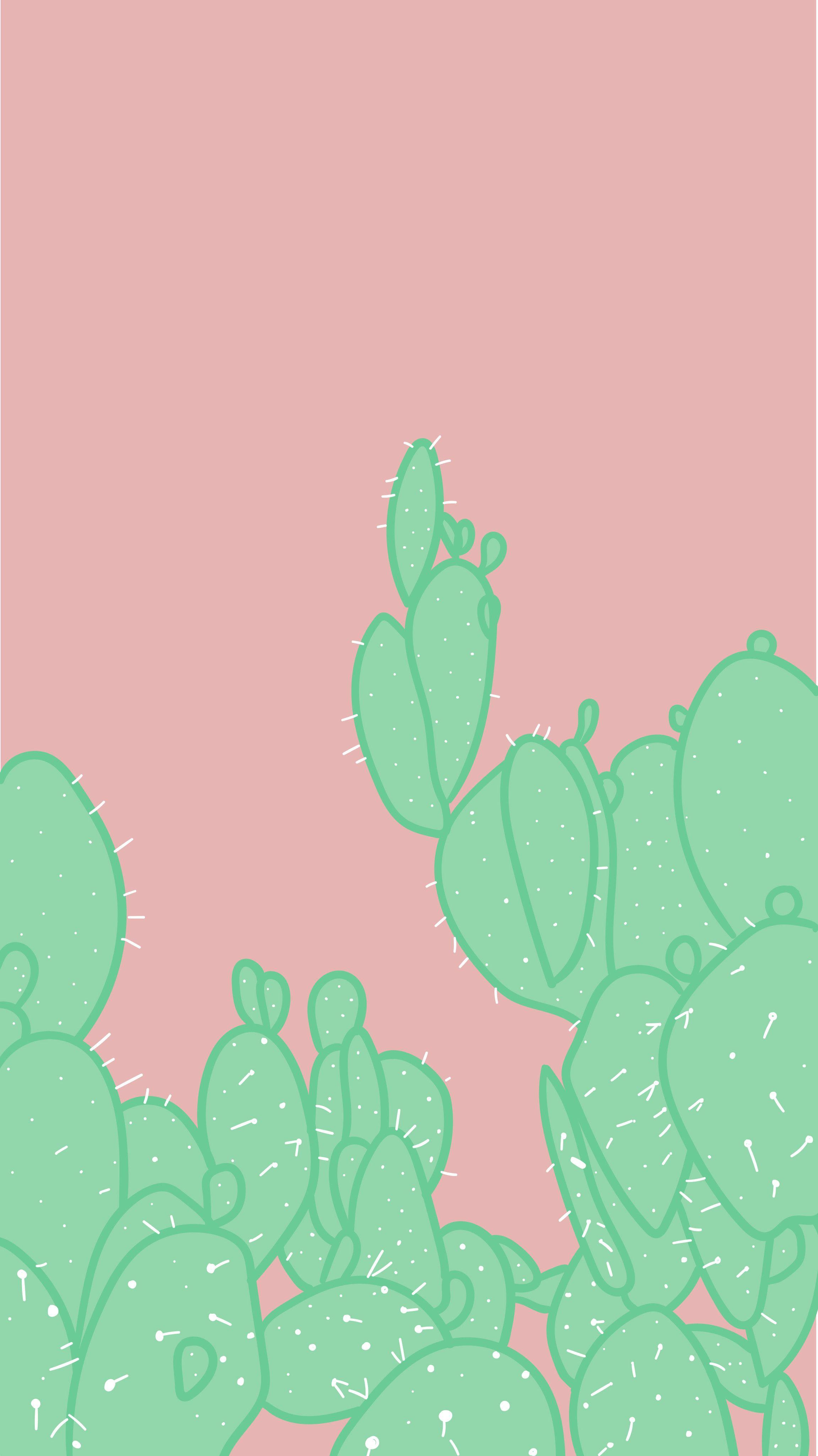 Arvowear Arvo Phonebackground Wallpaper Background Cactus Green Pink Prickly Iphone Wallpaper Pattern Pastel Background Wallpapers Cactus Backgrounds