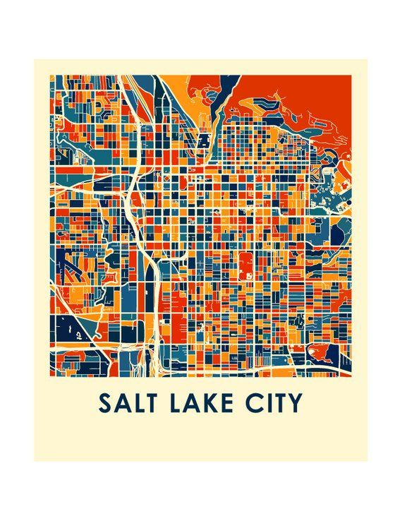 Salt Lake City Map Print - Full Color Map Poster | Products ...