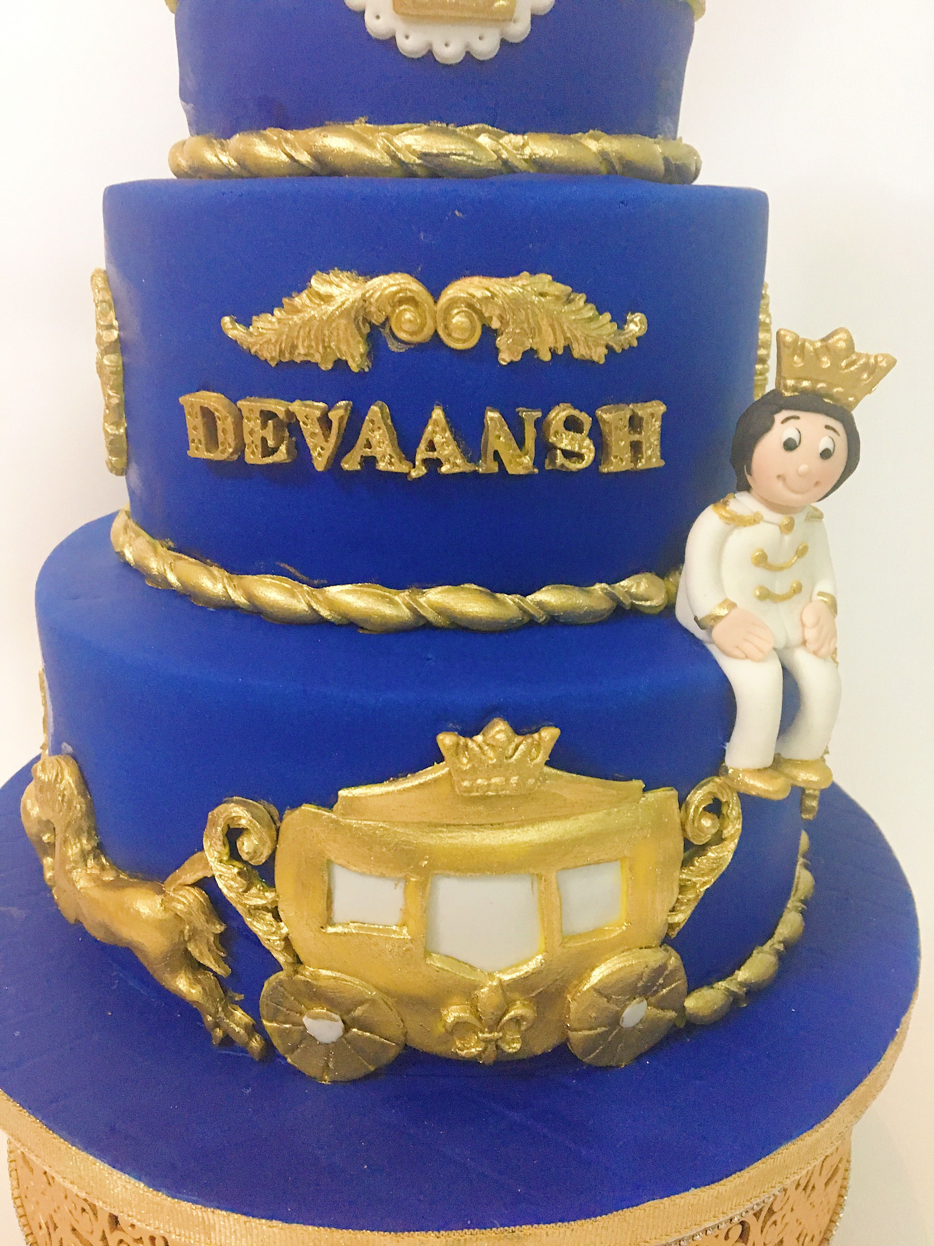 Royal prince theme cake with golden carriage Themed